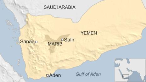 Map of Yemen showing location of Safer and Marib province