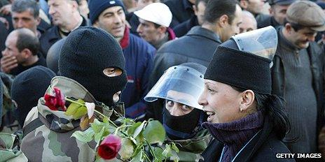 Protesters in Tbilisi during Rose Revolution