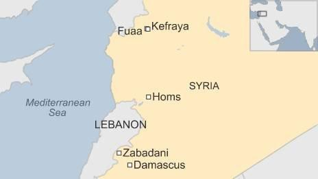 Syria war: Zabadani rebels evacuated in besieged villages ... on map of syria homs, map of syria raqqa, map of syria damascus, map of syria deraa, map of syria idlib, map of syria palmyra, map of syria latakia,