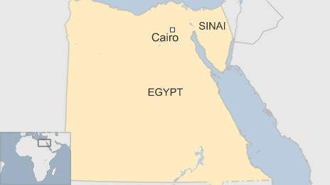 map of Egypt showing Cairo and Sinai peninsula