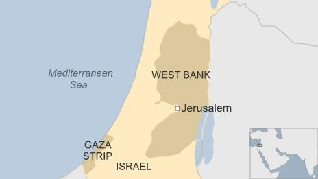 Map of Israel, West Bank, Gaza