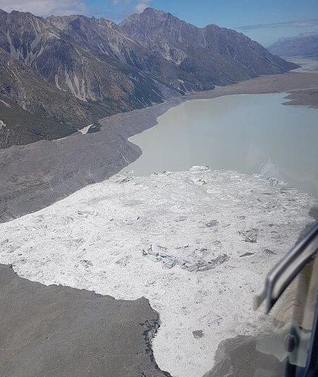 Aerial view of the Tasman Glacier and lake