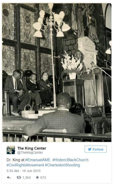 Tweet by The King Center, showing Martin Luther King at the Emanuel AME Church in Charleston, South Carolina - 13 April 1962