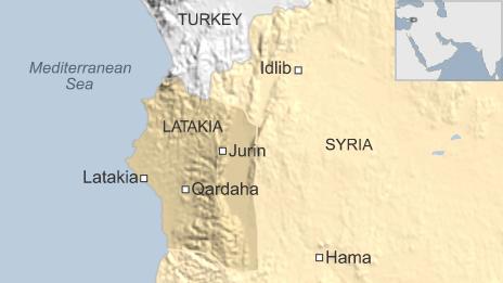 Map showing location of Jurin and Qardaha