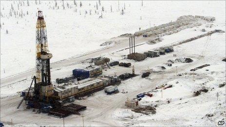 Rosneft oil rig seen at the Rosneft's Vankor oil field in eastern Siberia