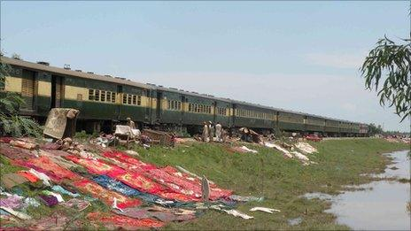 Afghan refugees in the Azakhel area are forced to live on the rail track