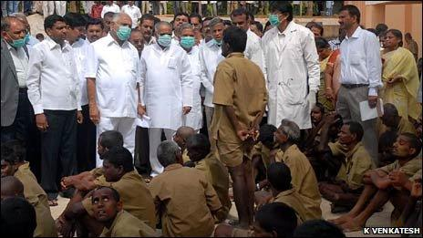 Chief Minister Yeddyurappa and other officials visit the centre