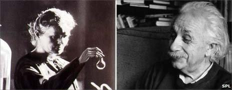 Marie Curie (left) and Albert Einstein (Images: Science Photo Library)