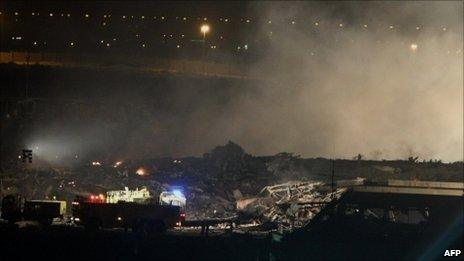 Scene of a plane crash in Dubai, 3 September