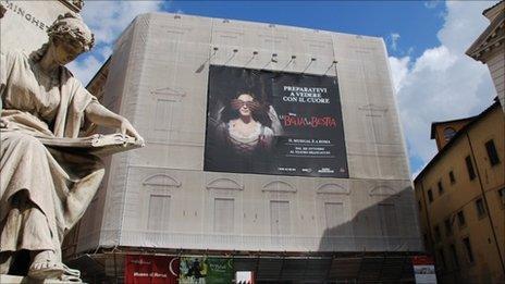 Advertising billboard in Rome