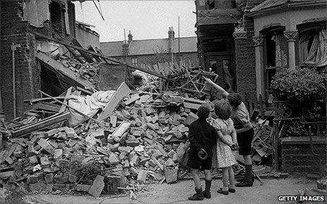 Children examine wreckage in east London