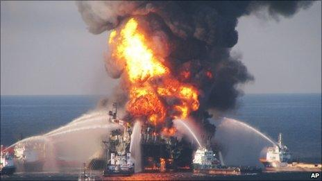 A fire at the offshore oil rig Deepwater Horizon in the Gulf of Mexico on 22 April, 2010