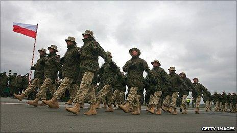 Polish soldiers march before flying on a Nato mission to Afghanistan (file picture)