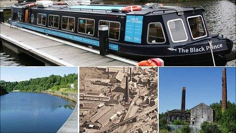 Clockwise - The boat the trust is buying, the old Engine House on the River Tawe, post war aerial photo of Hafod and the River Tawe