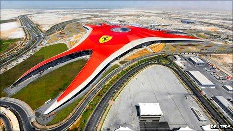 Aerial view of Ferrari World Abu Dhabi, a Ferrari themed amusement park, in Abu Dhabi September 27, 2010