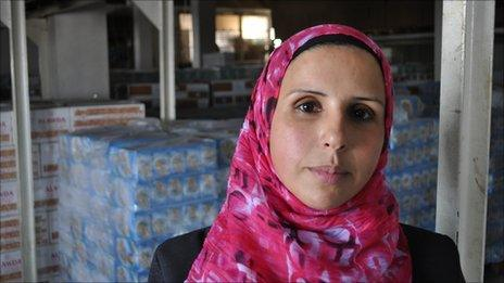Manal Hassan, manager of the Al Awda biscuit factory in central Gaza
