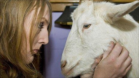 Maya Dunthorpe and her goat Stan (picture by Mark Marlow)