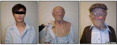 Before and after images of the man in disguise