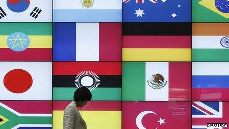 A woman walks by a signboard showing flags of the participating countries for the upcoming G20 Seoul Summit