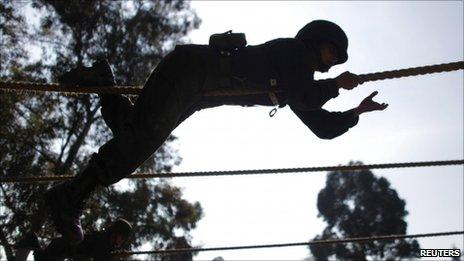 A female soldier takes part in an eight-week course to become an officer in the Mexican army