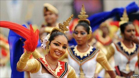 Dancers at a celebration for Hambantota seaport