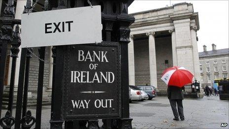 Exit sign at the Bank of Ireland's headquarters