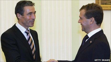 Nato Secretary General Anders Fogh Rasmussen and Russian President Dmitry Medvedev meeting in Moscow earlier this month