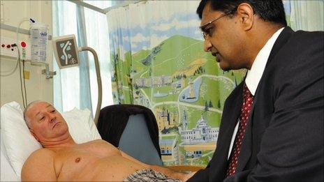Surgeon Dr Sumit Goyal with Steve McAllister