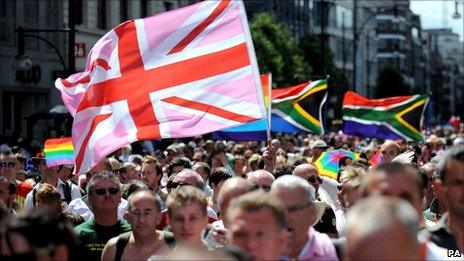 A gay pride march in London 2008