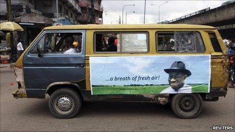 An election poster of President Goodluck Jonathan
