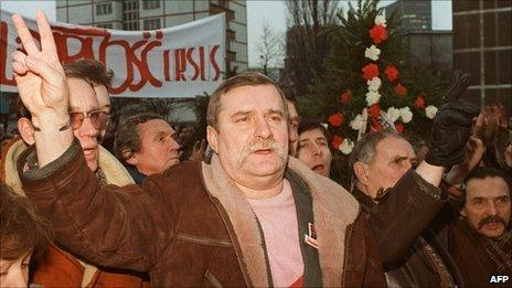 Lech Walesa flashes a V-sign as he and other shipyard workers demonstrate in 1988, commemorating the 18th anniversary of the workers riots.
