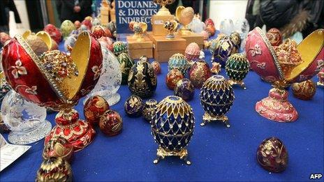 Fake Faberge eggs displayed at Paris' Charles de Gaulle airport. Photo: 14 December 2010