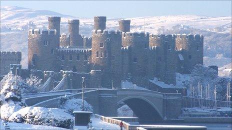 Conwy Castle in snow