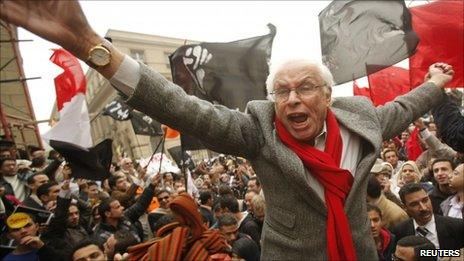 George Ishak, founder of Kefaya, at a protest in Cairo, 12 December