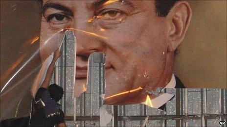 Poster of Hosni Mubarak defaced in Alexandria. 25 Jan 2011