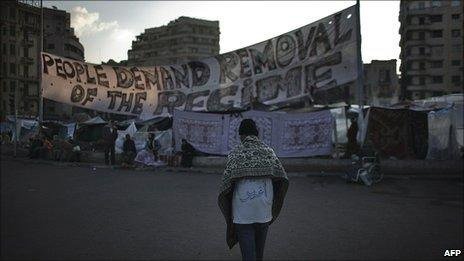 Protesters in Tahrir Square, Cairo, 8 February 2011