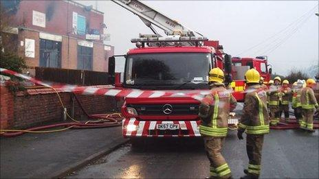 Firefighters at Shotton Lane Social Club