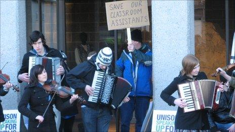 Demonstration outside Highland Council's HQ