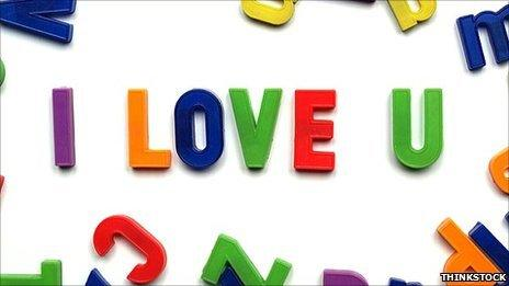 Letters spelling 'I love you'