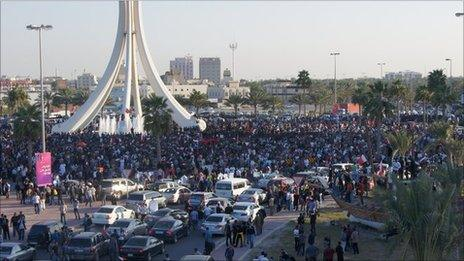 Protest at Pearl Roundabout, Manama, 15 Feb