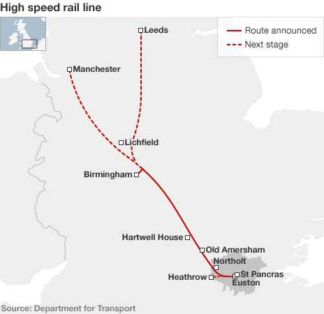 Proposed route for HS2