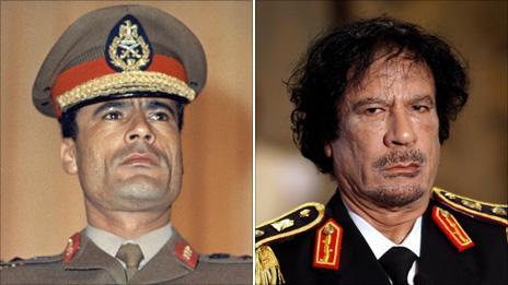 Col Gaddafi, 1969 and 2008