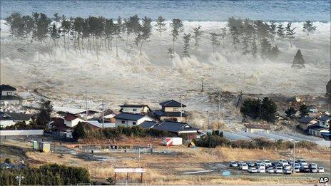 Tsunami hits Natori, Miyagi prefecture, on 11 March 2011