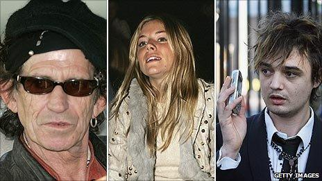 Keith Richards, Sienna Miller and Pete Doherty
