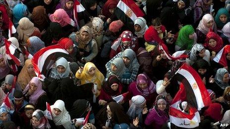 Egyptian women in Tahrir Square on 18 February