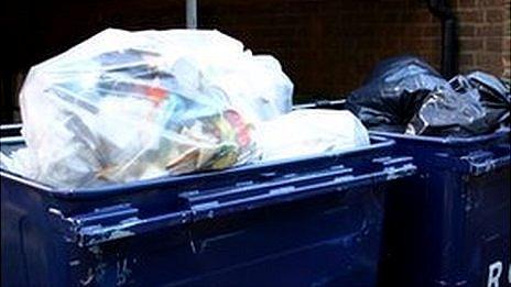 Two industrial size rubbish bins in London
