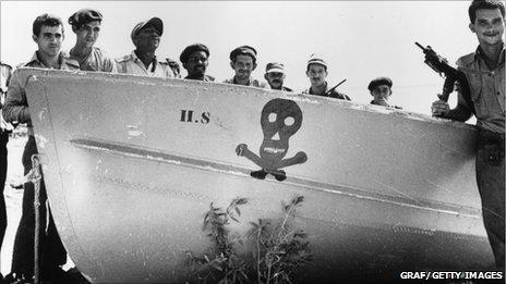 Pro-Castro soldiers at Playa de Giron, Cuba, in 1961