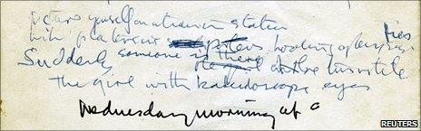 Lennon's handwritten lyrics