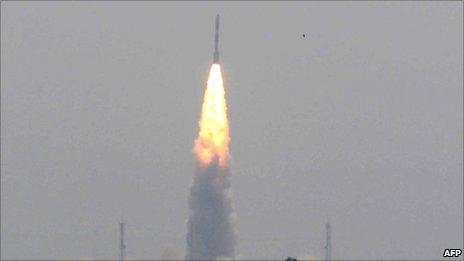 The PSLV blasts off at the Satish Dhawan Space Centre