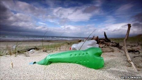 Plastic bottles washed up on beach at Prestwick, Scotland